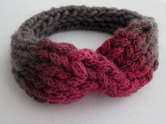 Hand Knitted Headband. Pure Wool. Taupe and Cherry by OkBee, €22.00