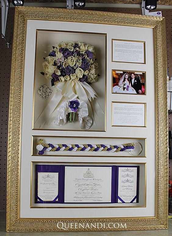 Transform your wedding flowers into a lasting work of art! The Davies Wedding shadowbox showcases @larsonjuhl frame - Chateau Florentine, @nbframing mat - Khaki (Foreground and Background). #queenandi #floralpreservation #weddingflowers