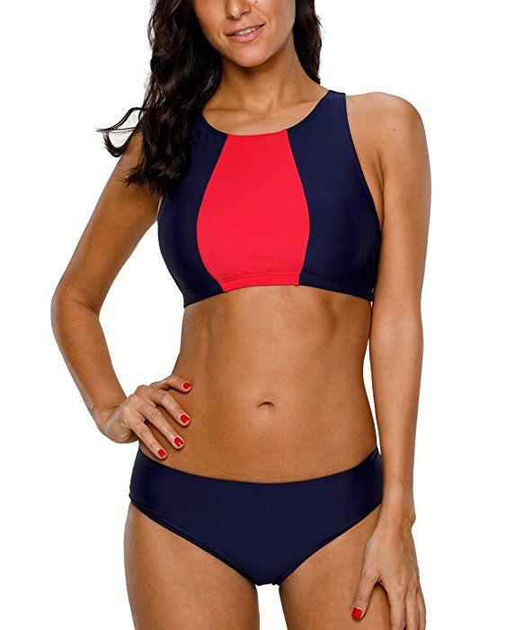 große Auswahl Offizielle Website Discounter CharmLeaks Damen Sport Bikini Zweiteiler High Neck Bandeau ...