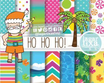 Santa Claus en la Playa Navidad Verano Papel Digital Cliparts Fondos Mar Alberca Palmera Hibiscus Dulces Jungla Palmas Palmera Olas