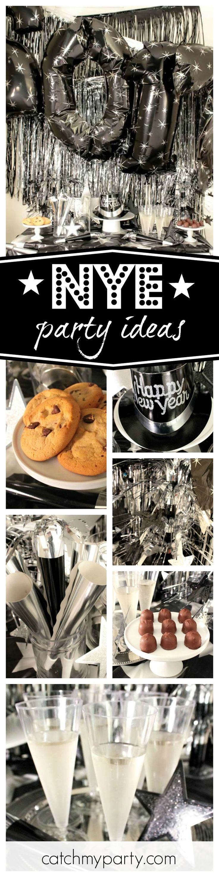 See out 2016 in style with this great black & silver New Years Eve party! See more party ideas and share yours at CatchMyParty.com