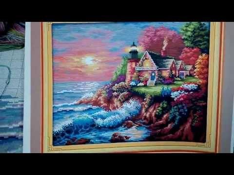 Маяк. Вышивка крестом. Часть II. The seaside lightouse - YouTube