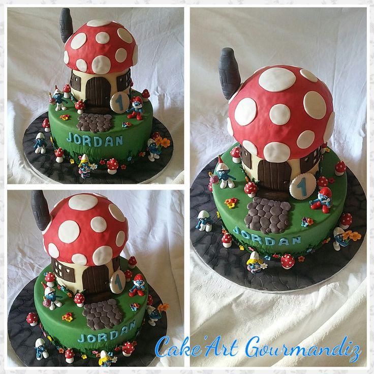 Gâteau d'anniversaire Schtroumpf #schtroumpf #schtroumpfcake