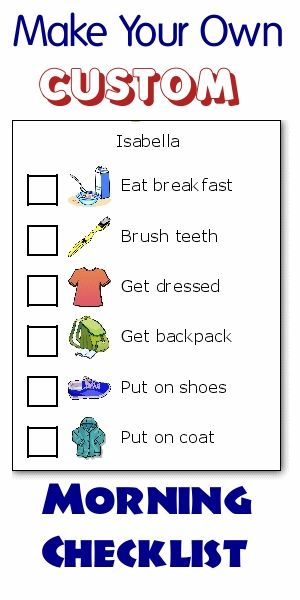 Get organized with this drag and drop morning routine checklist maker. The pictures make it easy for big and little kids to know what needs to be done next. And you will stop being a drill sergeant shouting out orders!