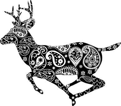 Zwierząt, Czarny, Dekoracja, Jeleń