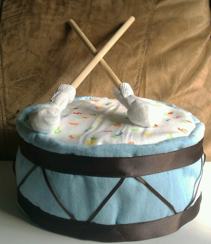 Diaper cake drum and drumsticks baby shower gift