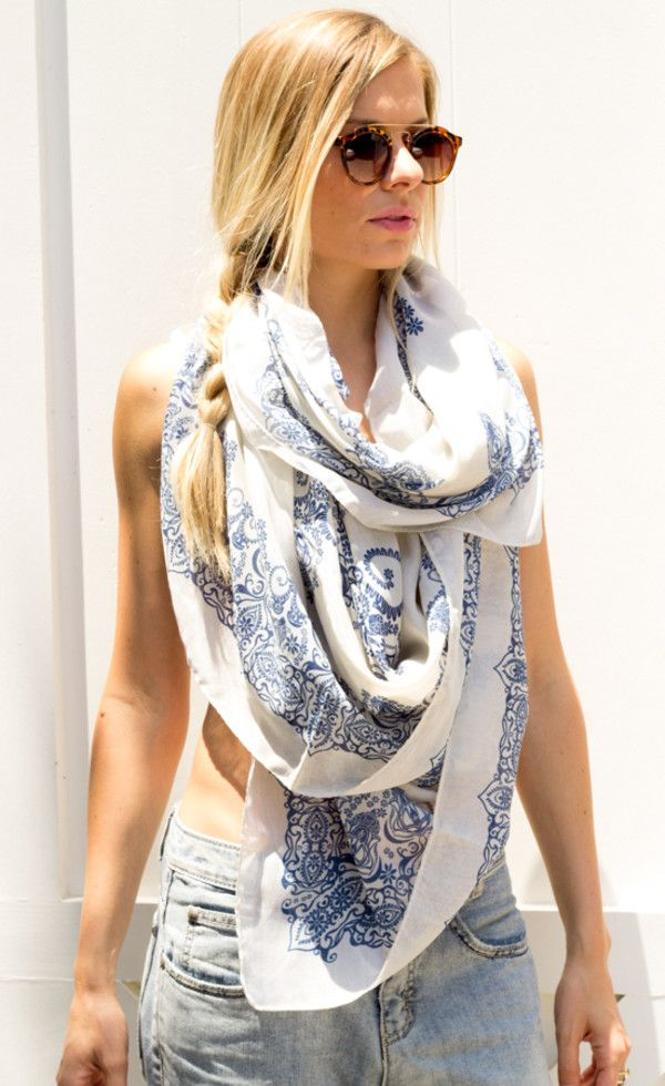 One of my favorite colors and patterns in a scarf.... Blue and white