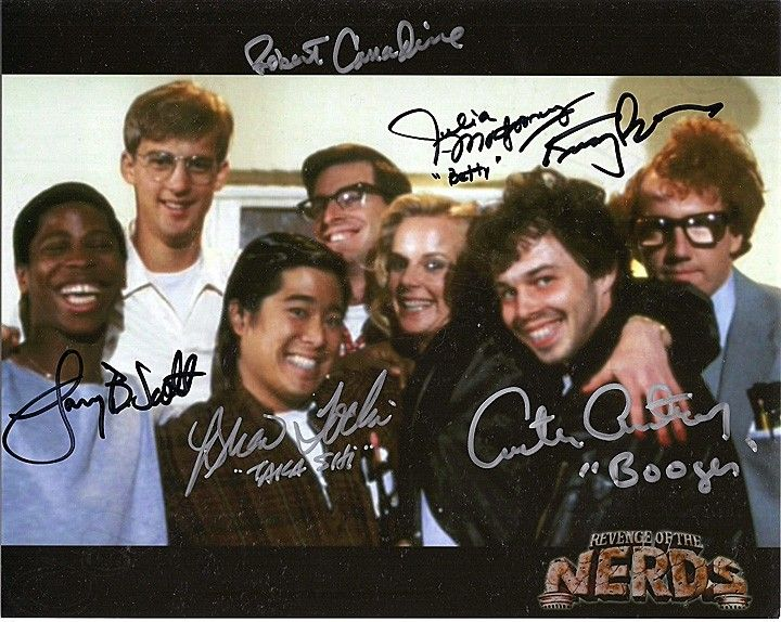 Revenge of the Nerds Cast Photo Signed by Robert Carradine, Curtis Armstrong, Larry B. Scott, Brian Tochi, Julia Montgomery, Timothy Busfield