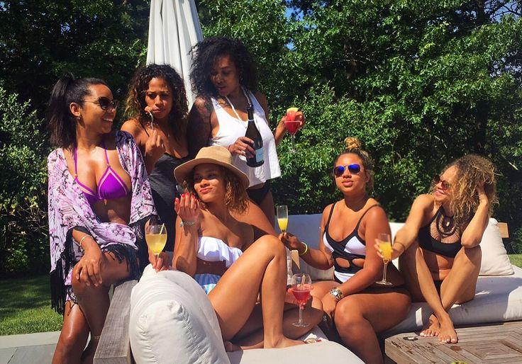 Girlfriends. Backyard summer in the Hamptons. Black Girl Magic.