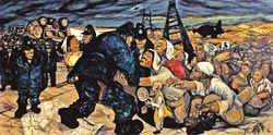 藝術之戰  《反安保,藝術之戰》片中,1950年代砂川居民與學生發起反美軍基地擴建的抗議,日本藝術家中村宏以此為題,畫下《砂川五番》。(天馬行空提供)