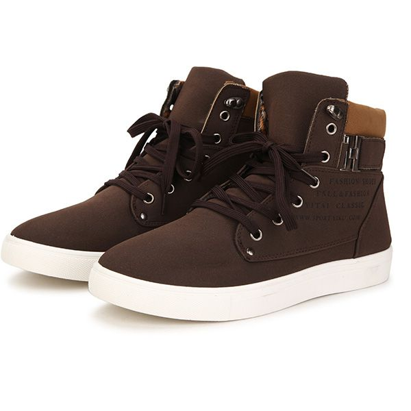 Men Matte-leather High Top Causal Sneakers Breathable Sports Shoes