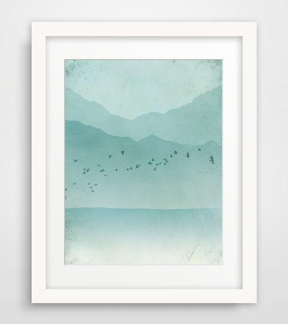 Beach Decor, Abstract Landscape, Nautical Decor, Mountains, Modern Wall Art, Aqua on Etsy, $18.00