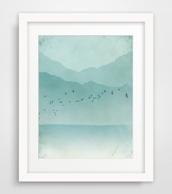 SALE Beach Art Print, Seascape Art, Coastal Decor, Giclee Print, Ocean, Teal Art