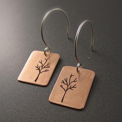 Small Copper Tree Earrings – Beth Millner Jewelry $40 www.bethmillner.com
