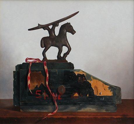 Robert E. Zappalorti, Shine for a Dime, 2012, oil on board, 17 1/4 X 16 inches