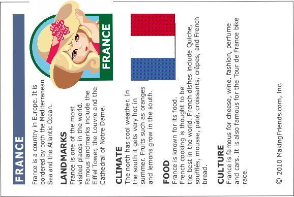 France Fact sheet. Just print and cut out! Fill up your passport with our printable fact sheets. To see the passport and more printable fact sheets go to MakingFriends.com