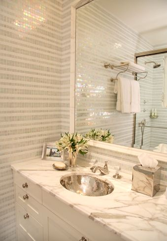 Striped stone mosaic tile