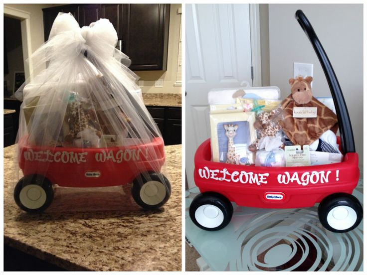 My version of a welcome wagon baby shower gift!! Small wagon filled with all the newborn essentials. This one was giraffe-themed. :)