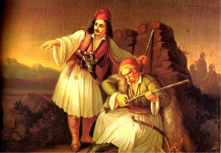 """Two Warriors"" 1855, Theodoros Vryzakis, 1814 – 1878 was a major Greek painter of the 19th century. Vryzakis's father died in the Greek War of Independence from the Ottoman Empire. He is the first Greek painter who studied in Munich and the main representative of the type of historical painting that was popular in Greece in the 18th century. He is considered the first painter of modern Greece, a recorder of the Greek War of Independence, which he viewed in a romantic and nostalgic way."