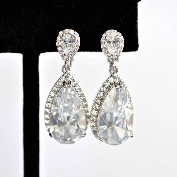 Gorgeous Handmade Clip-On Cubic Zirconia CZ Teardrop Dangle