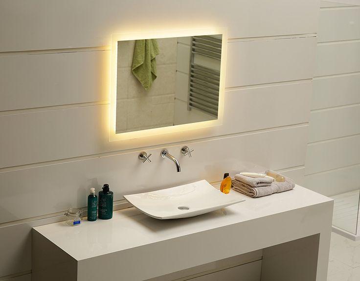 Badspiegel LED Spiegel GS084N mit Beleuchtung durch satinierte Lichtflächen Badezimmerspiegel (120 x 60 cm, warmweiß): Amazon.de: Küche & Haushalt