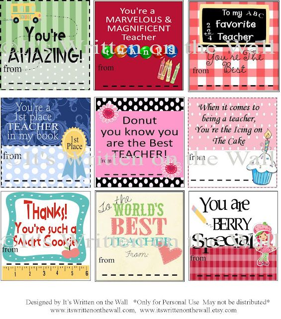 Teacher Appreciation Notes & Gift Ideas