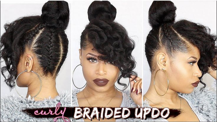 FRENCH BRAIDED CURLY UPDO ➟ Natural Hair How-To [Video] - https://blackhairinformation.com/video-gallery/french-braided-curly-updo-%e2%9e%9f-natural-hair-video/