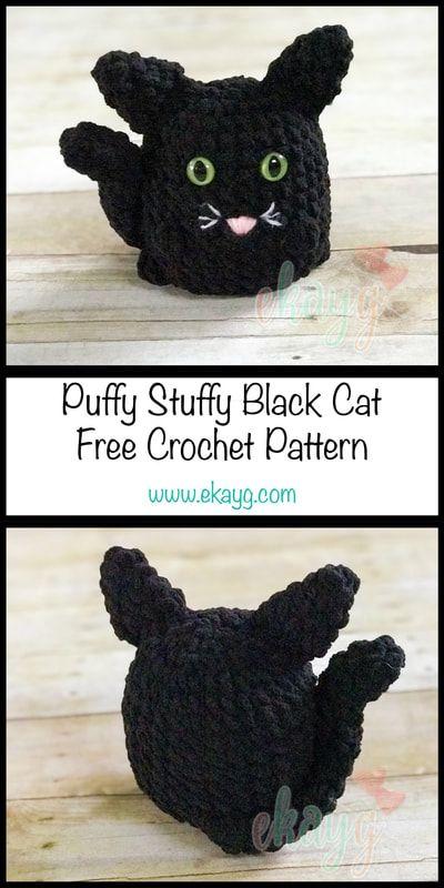 Puffy Stuffy Black Cat, Free Crochet Pattern   crochet cute   Pinterest