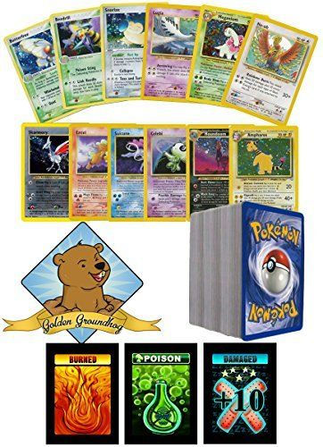 100 Assorted Pokemon Old School Cards Bundle With Rares Includes 1 Custom Golden Groundhog Box:   This lot of 100 Pokemon Cards will include:br / 1. 100 Assorted Pokemon Cards from the first 3 Generations of Sets.br / 2. Some Raresbr / 3. Includes 1 Custom Golden Groundhog Boxbr / This is a lot produced by Golden Groundhog, containing one unique Golden Groundhog authorized box, featuring the smiling groundhog.br / Golden Groundhog TM of Webbed Sphere Inc. 2016. All rights reserved.