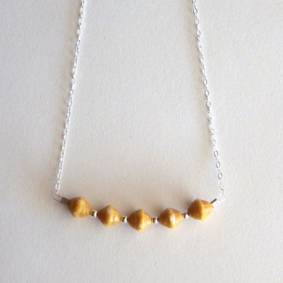 Yellow Paper Beads Sterling Silver Necklace / by juliedyecraft