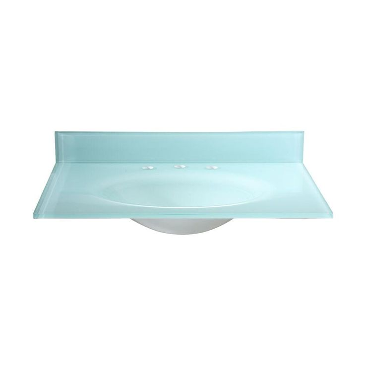 Hembry Creek 37 in W. Tempered Glass Vanity Top in White with White Basin-PBI37W at The Home Depot