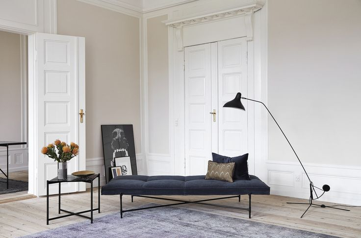 The HANDVÄRK Side Table in combination with the Daybed made of smooth velvet. Come visit the HANDVÄRK Showroom in the heart of Copenhagen!