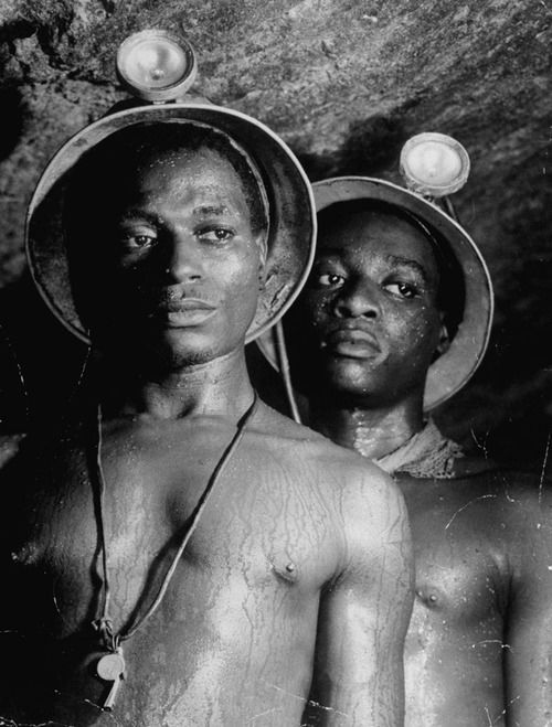 South African gold miners, photographed more than a mile underground, 1950. See more photos here. (Margaret Bourke-White—Time & Life Pictures/Getty Images)