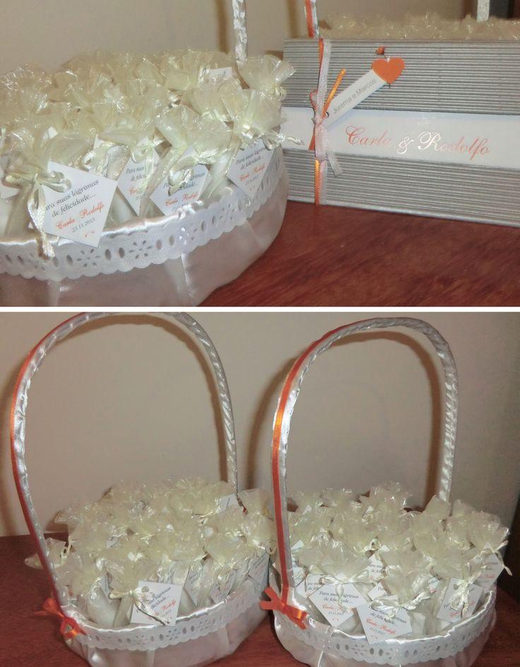 Convite e lembrancinha de casamento + cestinha para daminhas.