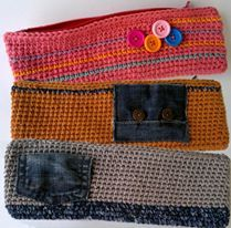 crochet pencil case whith details of jean