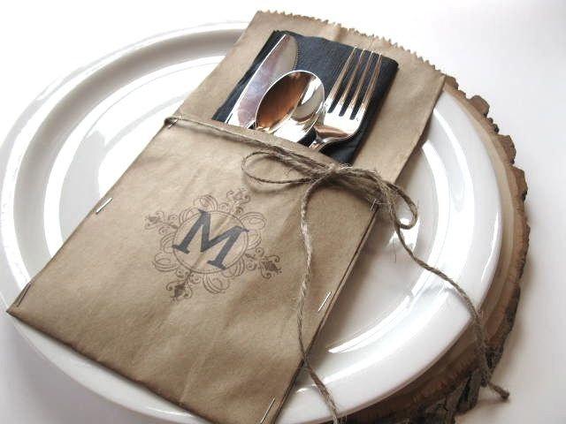 Silverware Pockets - MONOGRAMMED - set of 4 - wedding, rehearsal dinner, table setting, wedding table. $9.00, via Etsy.