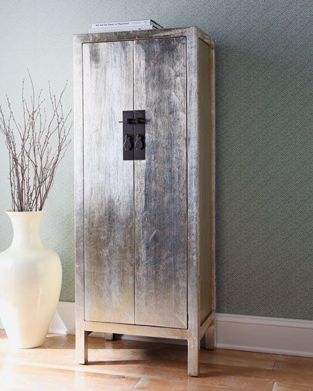 Amazing Antique Chinese Silver Leaf Cabinet :D