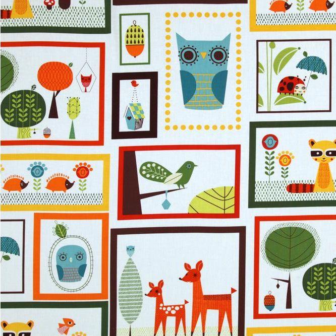 Schattige retro print met uiltjes, hertjes, egeltjes http://www.troispetitspois.nl/stof-per-soort/124-katoen-critter-patch-retro.html
