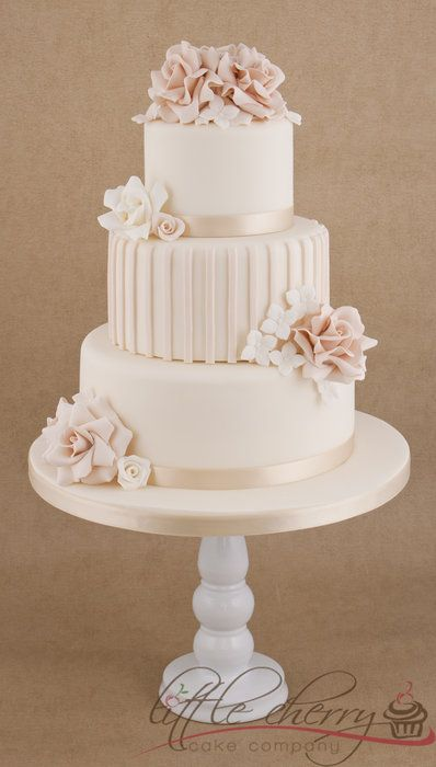Pale Vintage Ruffly Roses Wedding Cake by littlecherry
