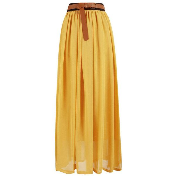 High Waisted Chiffon Maxi Skirt ($26) ❤ liked on Polyvore featuring skirts, bottoms, long skirts, maxi skirts, yellow, high-waisted skirts, yellow chiffon skirt, layered maxi skirt, long layered skirt and high waisted skirts