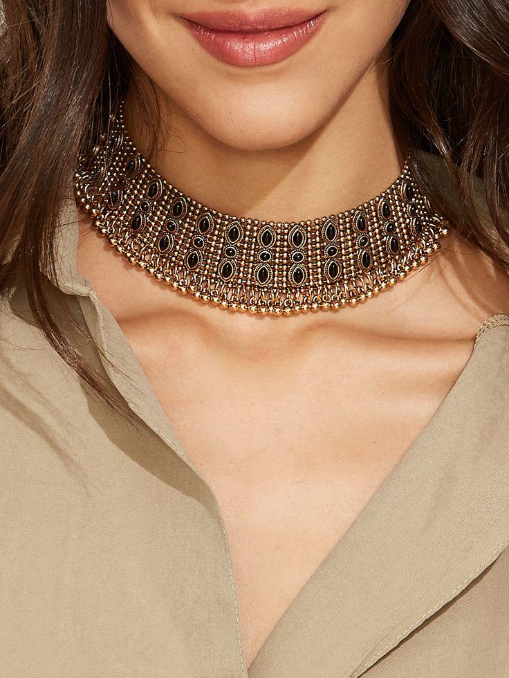 Shop Antique Gold Resin Glass Wide Choker Necklace online. SheIn offers Antique Gold Resin Glass Wide Choker Necklace & more to fit your fashionable needs.