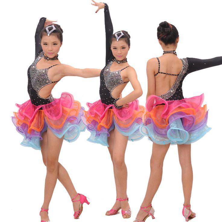 Cheap Profesional del cabrito del niño femenino de diamantes brillantes borla de la competencia Latin samba salsa dance skirt dress, Compro Calidad Latino directamente de los surtidores de China:    Detalles del producto           Tamaño:          S/120: altura consejos 110 cm-120 cm          M/130: altura consejos