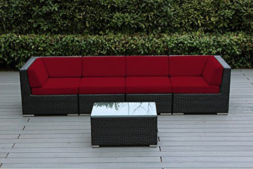 Ohana Outdoor Patio Wicker Furniture Sectional Conversation 5 Pc
