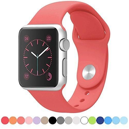 Vitech Soft Silicone Replacement Sport Band for 38mm Apple Watch Models Pink (3 Pieces of Bands Included for 2 Lengths for Apple Watch Series 1 Series 2 Sport&Edition 2016)