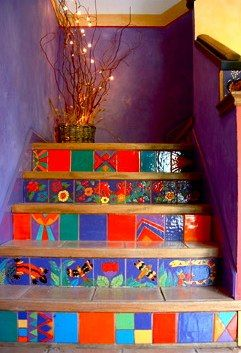 Tiled Stairs. Beautiful!