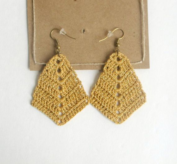 Rhombus Crocheted Earrings , Bohemian Handmade,  triangle diamond shaped boho earrings, Cotton Anniversary 2nd Gift for Wife
