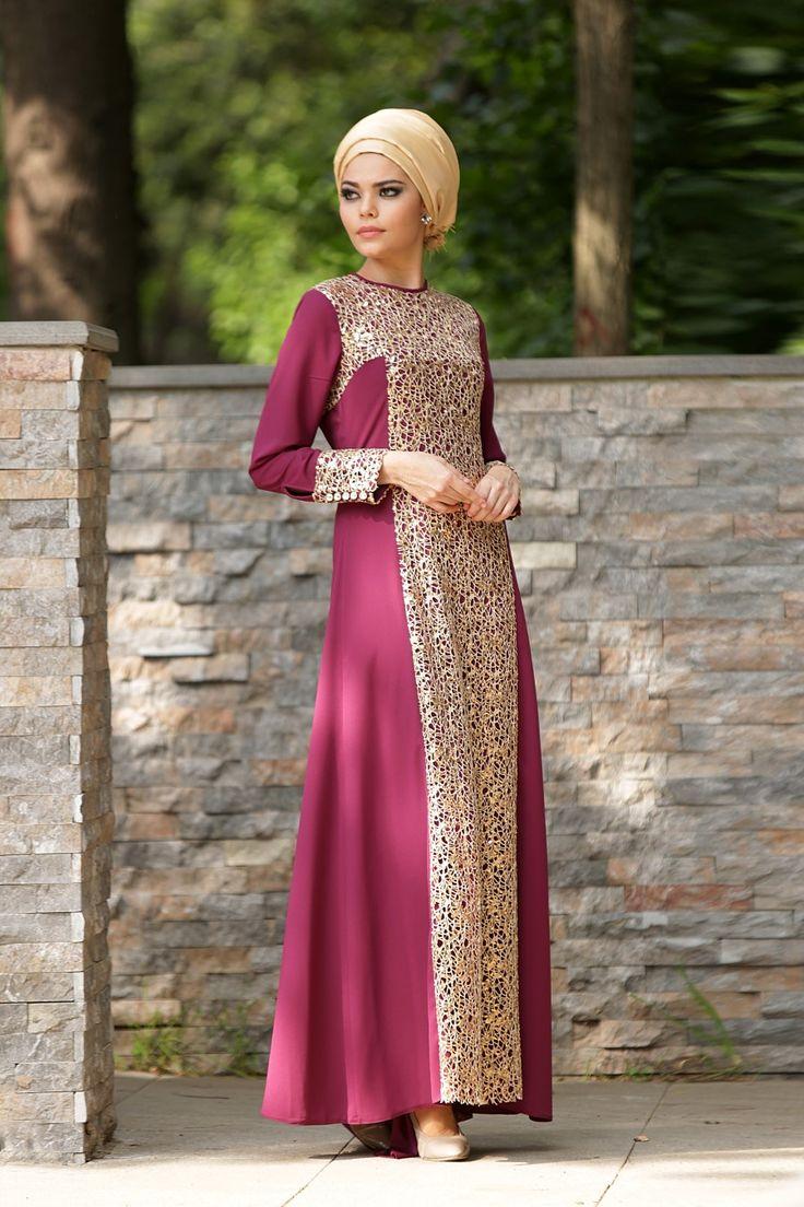 Nayla Collection - Payet Detaylı Vişne Elbise
