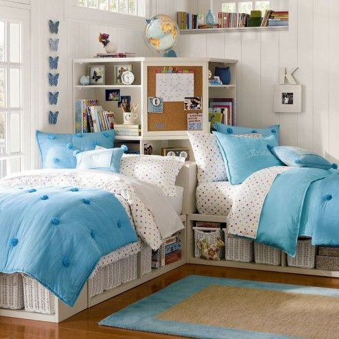 Bedroom, Beautiful Modern Twin Country Girls Bedroom With Clever Bedroom Furniture Arrangement By Twin Single Bed With Corner Headboard As Bookcase And Blue Bedroom Bedding Design Ideas And Decoration ~ Lovely Tween Girl's Bedroom Ideas for Colorful Teenage Life