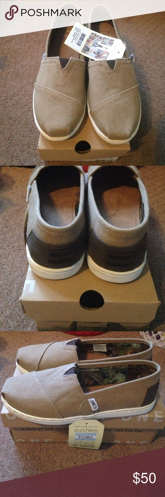 Brand new kids TOMs Brand new with box classic brown canvas. Youth size 5 Toms Other