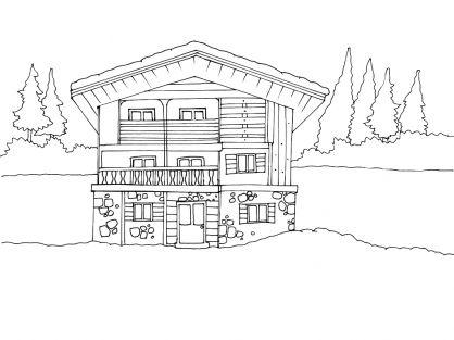Coloriage maison 12 tipos de vivienda pinterest - Dessin de maison en bois ...